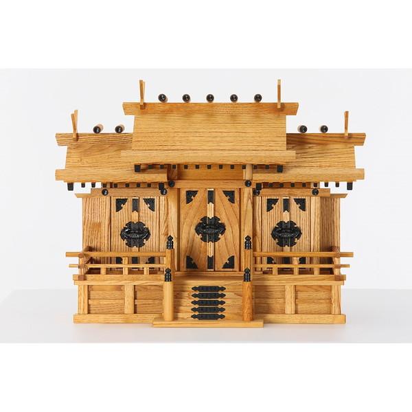 静岡木工 屋根違い三社 中 けやき色