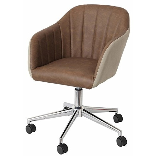 【送料無料】市場 CH-2800DBR-BE デスクチェアー オフィスチェア キャスター付き イス 昇降式 パソコンチェア 肘あり ワークチェア 椅子 おしゃれ モダン ダークブラウン ベージュ