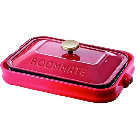 イーバランス EB-RM8600H-RD レッド ROOMMATE [ホットプレート(プレート3枚)] ふた付き たこ焼き 焼肉 蒸し料理 調理 コンパクト