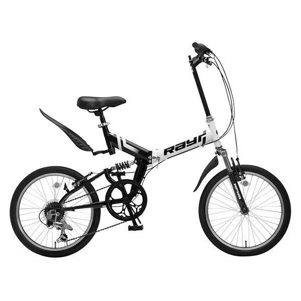 【送料無料】Raychell MFWS-206RR ホワイト/ブラック [折りたたみマウンテンバイク(20インチ・6段変速)]【同梱配送不可】【代引き不可】【沖縄・北海道・離島配送不可】