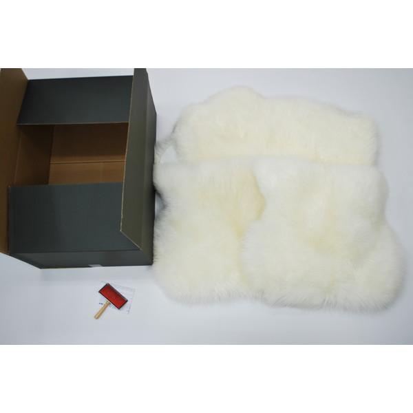 【送料無料】BMS LA-05WH ホワイト [ラグジュアリームートン クッション タイプ3 (長毛/サイズ60×50cm2枚/60×168cm1枚)]