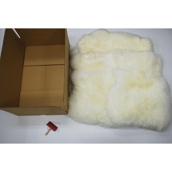 BMS LA-06WH ホワイト [ラグジュアリームートン クッション タイプ4 (長毛/サイズ60×50cm4枚/60×168cm1枚)]