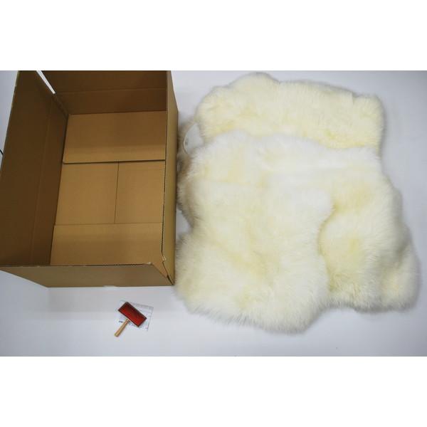 BMS LA-07WH ホワイト [ラグジュアリームートン クッション タイプ5 (長毛/サイズ60×50cm2枚/60×168cm2枚)]