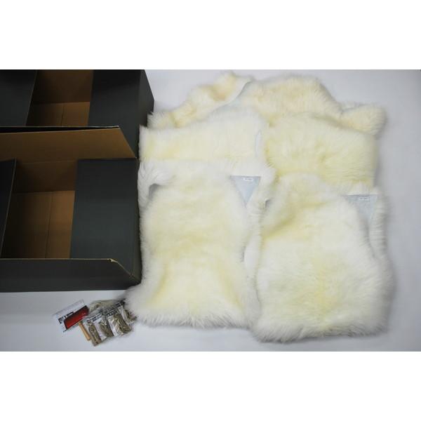 BMS LC-06WH ホワイト [ラグジュアリームートン シートカバー タイプD (長毛/サイズ60×120cm4枚/120×140cm1枚)]