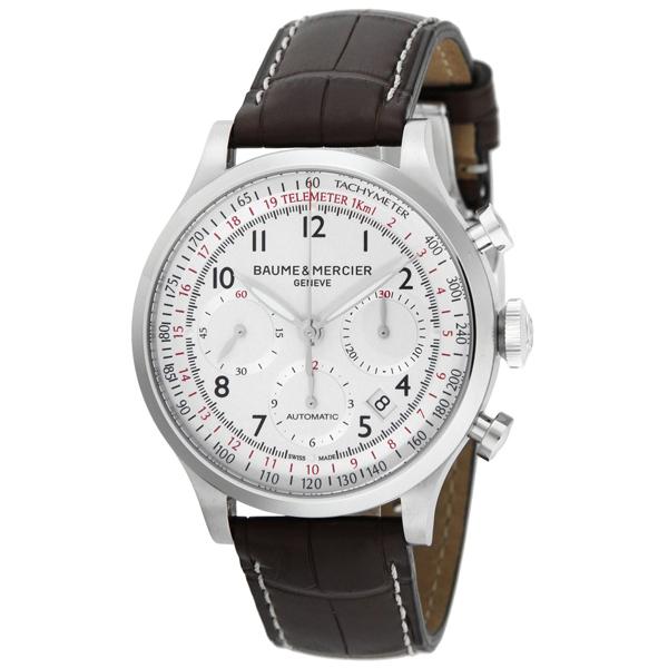 【送料無料】BAUME&MERCIER ボーム&メルシエ ボーム&メルシェ MOA10041 ケープランド クロノグラフ アリゲーターレザー ホワイト/ダークブラウン [メンズ 腕時計]