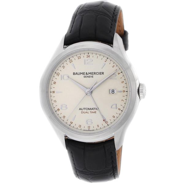 【送料無料】BAUME&MERCIER ボーム&メルシエ ボーム&メルシェ MOA10112 クリフトン デュアルタイム アイボリー/ブラック [メンズ 腕時計]