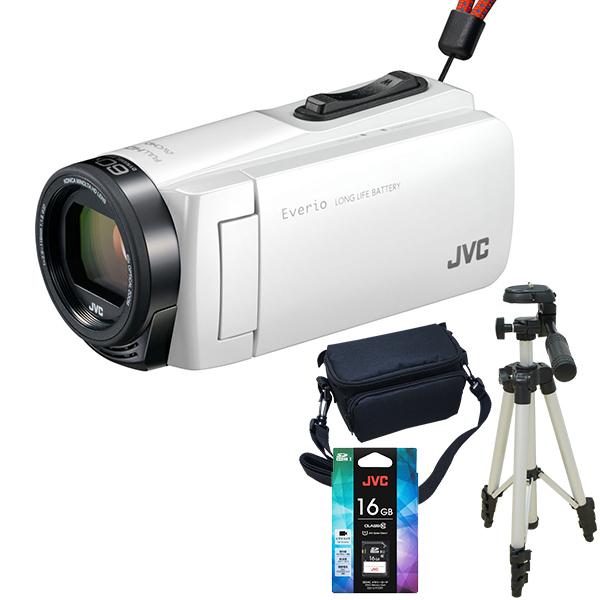 【送料無料】JVC GZ-F270-W ホワイト Everio 三脚&バッグ&メモリーカード(16GB)付きセット [フルハイビジョンメモリービデオカメラ(32GB)] 長時間録画 卒園 入園 卒業式 入学式に必要なもの 結婚式 出産 旅行 アウトドア 小型 コンパクト 小さい