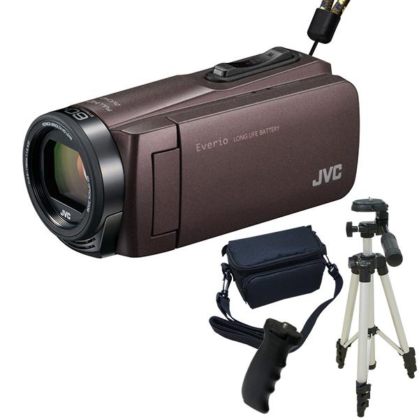 【送料無料】JVC GZ-F270-T ブラウン Everio 三脚&バッグ&バッテリーグリップセット [フルハイビジョンメモリービデオカメラ(32GB)]