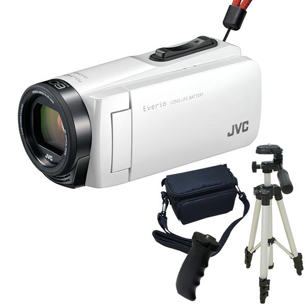 【送料無料】JVC GZ-F270-W ホワイト Everio 三脚&バッグ&バッテリーグリップセット [フルハイビジョンメモリービデオカメラ(32GB)]
