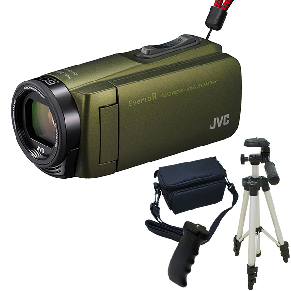 【送料無料】JVC GZ-R470-G カーキ Everio R 三脚&バッグ&バッテリーグリップセット [フルハイビジョンメモリービデオカメラ(32GB)]