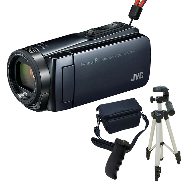 【送料無料】JVC GZ-R470-H アイスグレー Everio R 三脚&バッグ&バッテリーグリップセット [フルハイビジョンメモリービデオカメラ(32GB)]