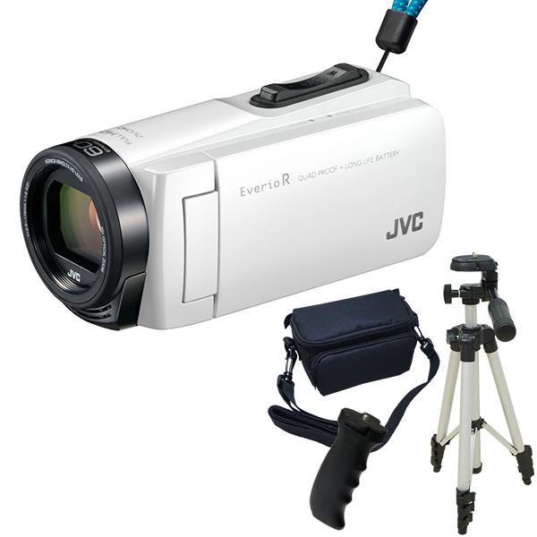 【送料無料】JVC GZ-R470-W シャインホワイト Everio R 三脚&バッグ&バッテリーグリップセット [フルハイビジョンメモリービデオカメラ(32GB)]