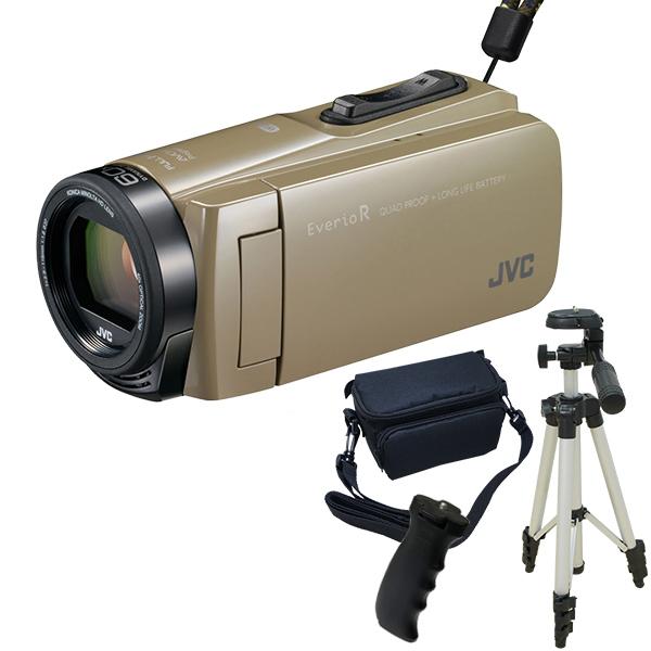 【送料無料】JVC GZ-RX670-C サンドベージュ Everio R 三脚&バッグ&バッテリーグリップセット [フルハイビジョンメモリービデオカメラ(64GB)]