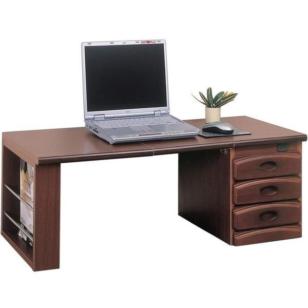 引出上部にコンセントがついており、ノートパソコン使用時、アイロン使用時等、座机として使用したい場所へ持ち運んで使用できます。 机 文机 学習机 折りたたみ コンパクト シンプル デスク テーブル ローデスク 書斎 作業台 和風 おしゃれ 木製 ブラウン クロシオ