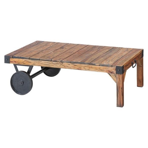 【送料無料】トロリー テーブル TTF-116 センターテーブル W106×D66×H33 車輪付き 木製 レトロ【同梱配送不可】【代引き不可】【沖縄・北海道・離島配送不可】