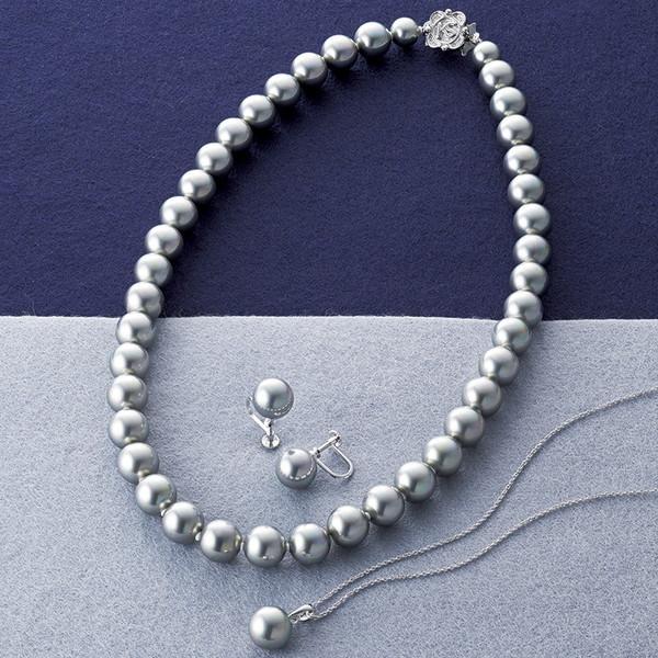 カンサイセレクション 花珠貝パール 3点セット グレー 29003G