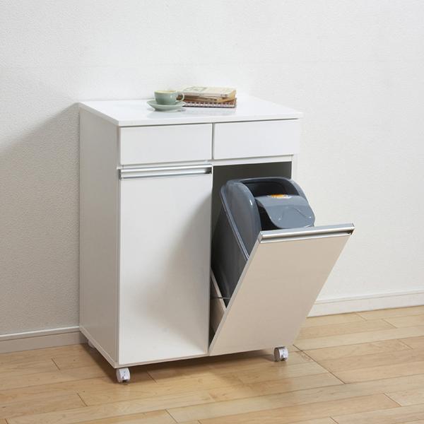 【送料無料】ダストボックス ごみ箱 ゴミ箱 分別 スリム カウンター 白 ホワイト 完成品
