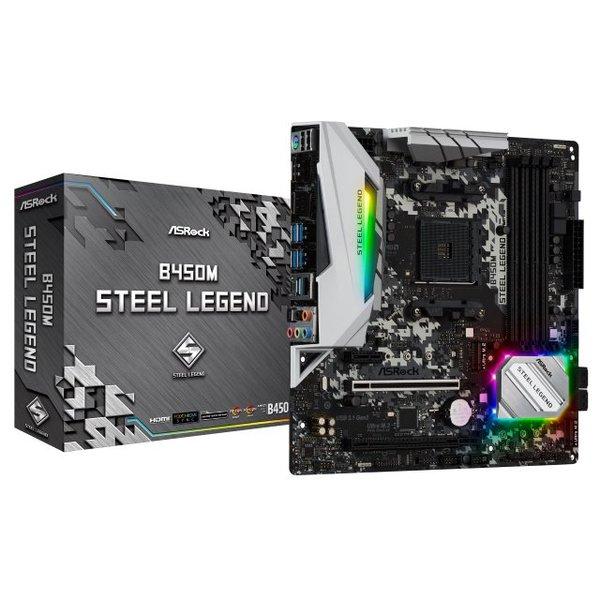 【送料無料】ASRock B450M Steel Legend [AMD B450チップセット搭載MicroATXマザーボード (Socket AM4対応)]