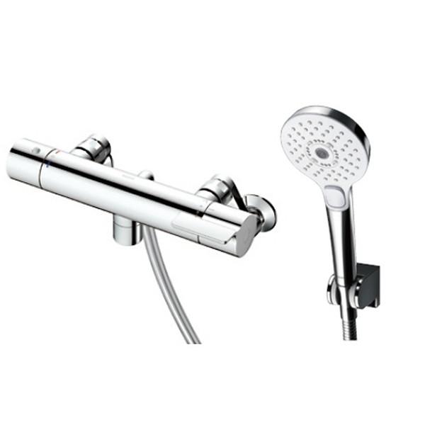 節水と適度な刺激感を両立する「コンフォートウエーブシャワー」を標準搭載。 TOTO TBV03412J GGシリーズ(浴室用水栓金具) [サーモスタット混合水栓 (コンフォートウエーブ3モードめっき・スパウト0mm)]