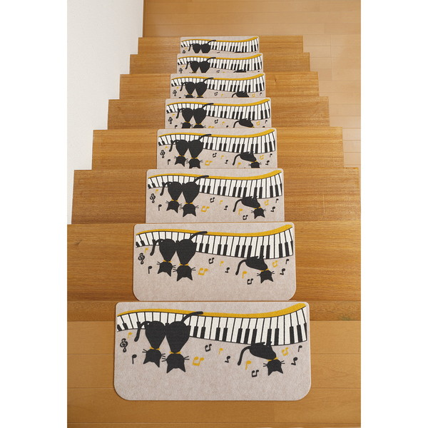 サンコー 吸着階段マット 黒ネコ 15枚入