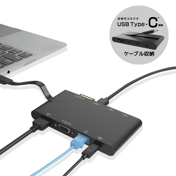 ELECOM DST-C05BK ブラック [Type-Cドッキングステーション/PD対応/SD+microSDスロット/ケーブル収納] メーカー直送