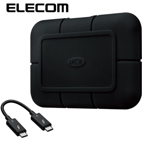 ELECOM STHZ2000800 [SSD LaCie Rugged SSD Pro Thunderbolt 3 USB3.1 Gen2 2TB RAID 0 / 1 防滴 防塵 耐衝撃 ブラック] メーカー直送