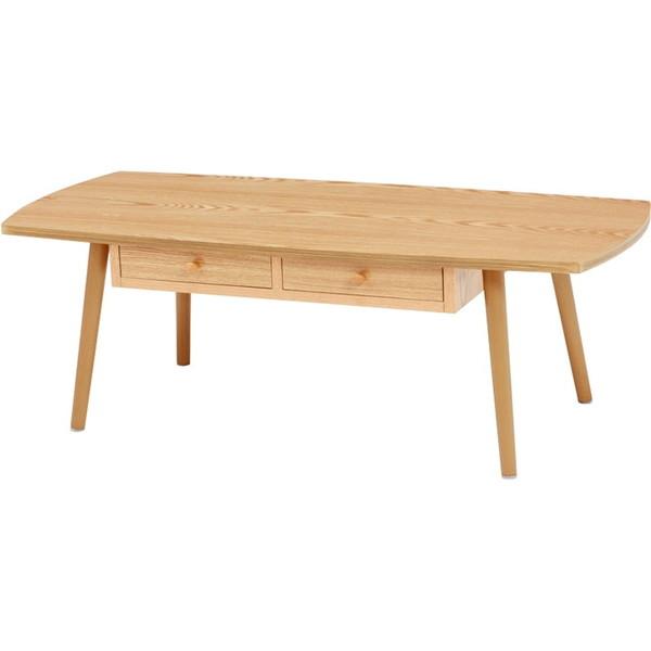 萩原 MT-6353NA ナチュラル [引き出し付き角テーブル 幅110cm 組立式] メーカー直送