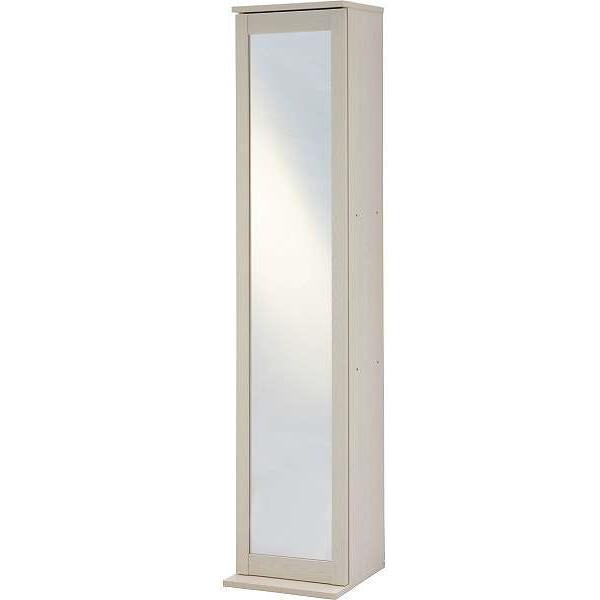 ミラー付収納タワー 鏡付き収納 収納棚 姿見鏡 鏡 収納 本棚 CD DVD ラック 木目調 白 ホワイト