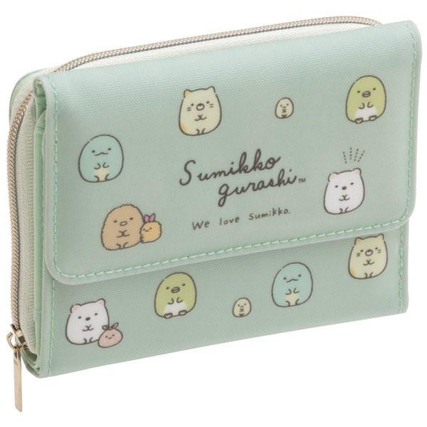 小さめバッグにも収まるコンパクトなミニ財布 San-X ワレット すみっコぐらし トレンド お財布 在庫一掃 グリーン WL35002