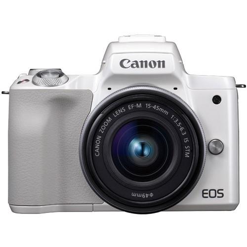 【送料無料】CANON EOS Kiss M EF-M15-45 IS STM レンズキット ホワイト [ミラーレス一眼カメラ(2410万画素)]