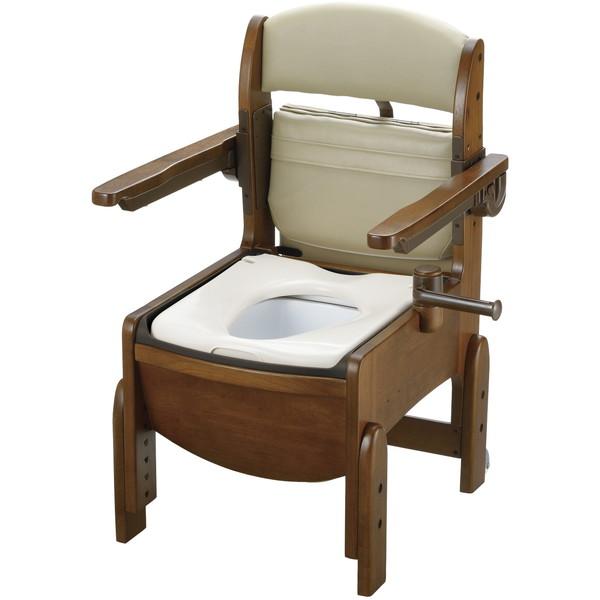 Richell(リッチェル) 木製トイレ きらくコンパクト 肘掛跳上 普通便座 [介護 福祉 医療 病院 介助] コンパクトボディ