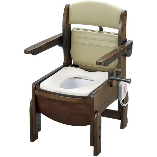 【送料無料】Richell(リッチェル) 木製トイレ きらくコンパクト 肘掛跳上 暖房便座 [介護 福祉 医療 病院 介助]