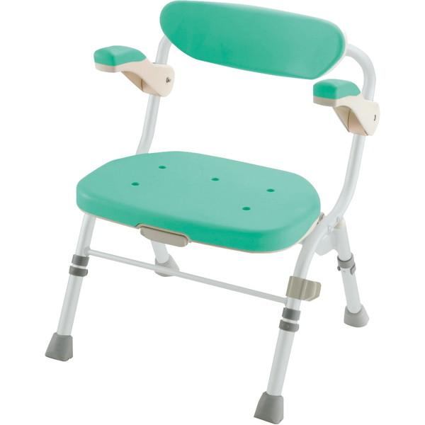 【送料無料】Richell(リッチェル) 折りたたみシャワーチェアR型 肘掛け付 グリーン 標準 [介護 福祉 医療 病院 介助 浴室 お風呂 おふろ]
