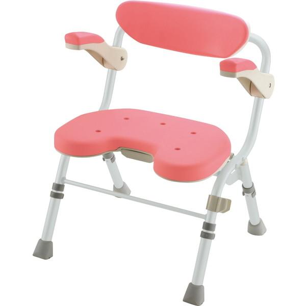 【送料無料】Richell(リッチェル) 折りたたみシャワーチェアU型 肘掛け付 ピンク U [介護 福祉 医療 病院 介助]