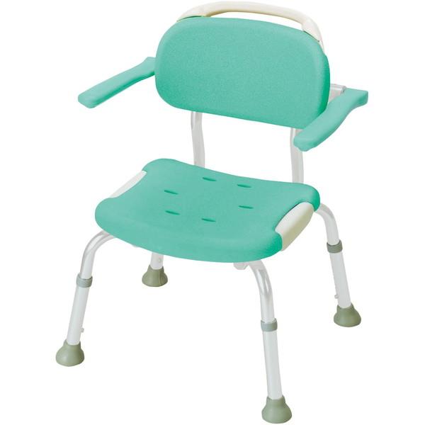 【送料無料】Richell(リッチェル) やわらかシャワーチェア 肘掛付コンパクト グリーン 標準タイプ [介護 福祉 医療 病院 介助 浴室 お風呂 おふろ]
