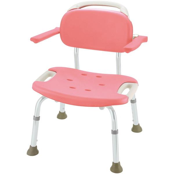 【送料無料】Richell(リッチェル) やわらかシャワーチェア肘掛付ワイド ピンク 標準タイプ [介護 福祉 医療 病院 介助 浴室 お風呂 おふろ]