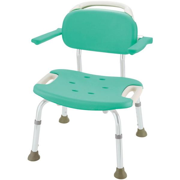 【送料無料】Richell(リッチェル) やわらかシャワーチェア肘掛付ワイド グリーン 標準タイプ [介護 福祉 医療 病院 介助 浴室 お風呂 おふろ]