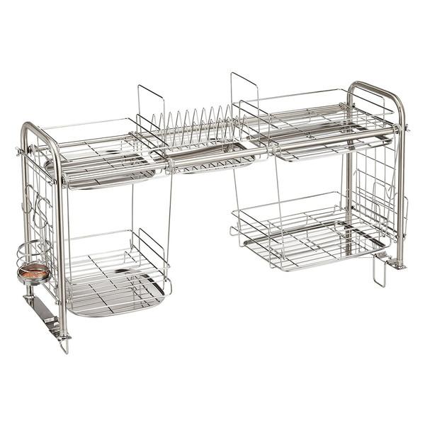収納ラック キッチン用品 KS-2713 下段オプション付き(組立式) 杉山金属 スライド式 水切り 収納 シンクの幅に合わせて使える(幅64~110cm)