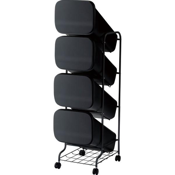 【送料無料】リス ゴミ箱 smooth スタンドダストボックス4P ブラック