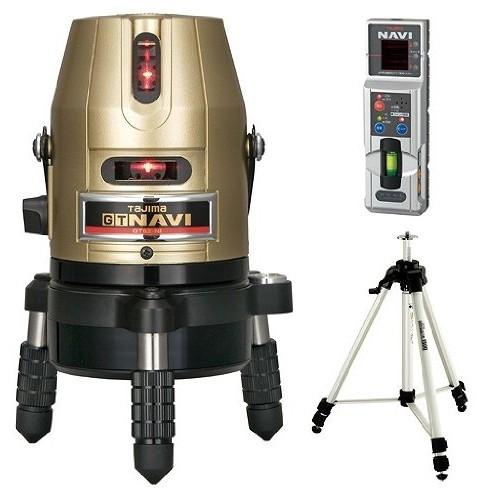 自動で地墨合わせできる、NAVI機能搭載レーザー タジマ GT5Z-NISET [レーザー墨出し器 三脚セット(矩十字・横)]