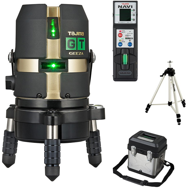 ハイパワーダイレクトグリーンレーザー タジマ GT4G-NISET [レーザー墨出し器 三脚セット(矩・横・両縦)]