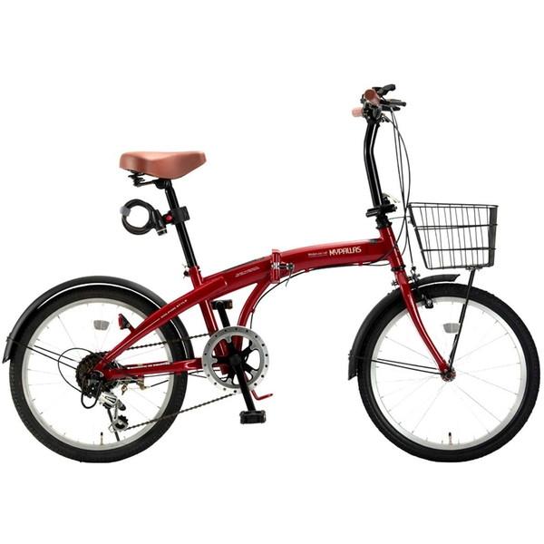 【送料無料】マイパラス HCS-01-RD レッド [折りたたみ自転車(20インチ・6段変速)]【同梱配送不可】【代引き不可】【本州以外配送不可】