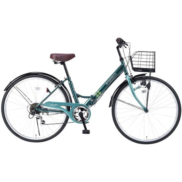 【送料無料】マイパラス M-507-GR グリーン [折りたたみシティ自転車(26インチ・6段変速)]【同梱配送不可】【代引き不可】【本州以外配送不可】