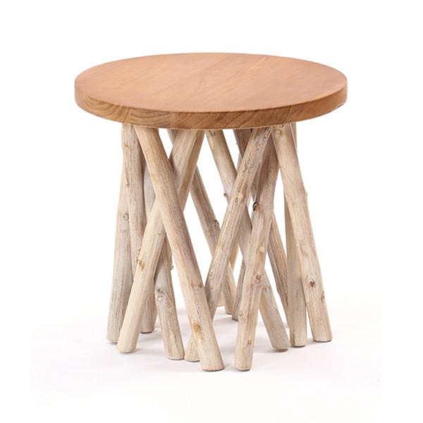 【送料無料】サンフラワーラタン アジアン家具【@CBi(アクビィ)】 木製 サイドテーブル AZT004【同梱配送不可】【代引き不可】【沖縄・北海道・離島配送不可】