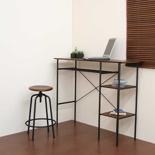 カウンターテーブル デスク バーカウンター ウォールナット スチール ビンテージ ブラウン 市場 ANT-2399BR