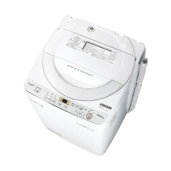 槽の樹脂まるごと抗菌・防カビ加工。 SHARP ES-GE6C ホワイト系 [全自動洗濯機(6.0kg)]