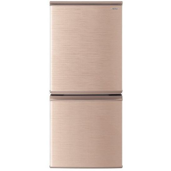 【送料無料】小型冷蔵庫 シャープ SHARP SJ-D14E-N ブロンズ ゴールド おしゃれ 一人暮らし 単身 137L 140L 小型 2ドア シンプル おしゃれ 右開き 左開き どっちもドア シンプル
