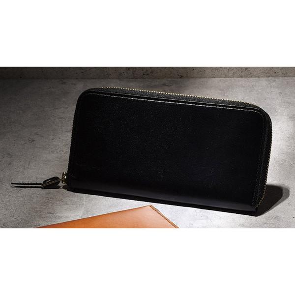 【送料無料】手塗りオイルレザー ラウンド長財布 ブラック TA45-01
