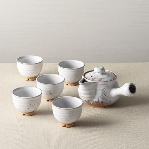 【送料無料】萩焼 白釉茶器揃 05764