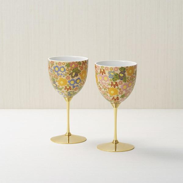 【送料無料】九谷焼 花詰 ペアワインカップ 18HANA01